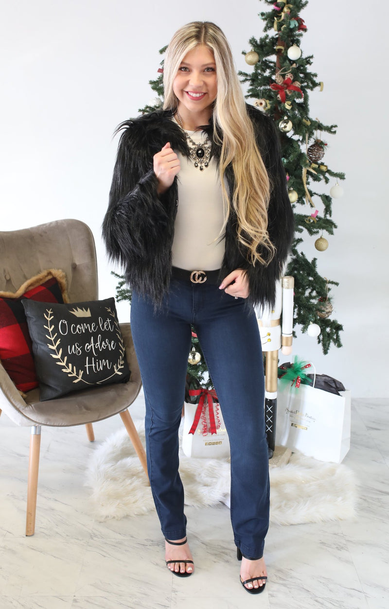 Fur Real Jacket: Black - ShopSpoiled