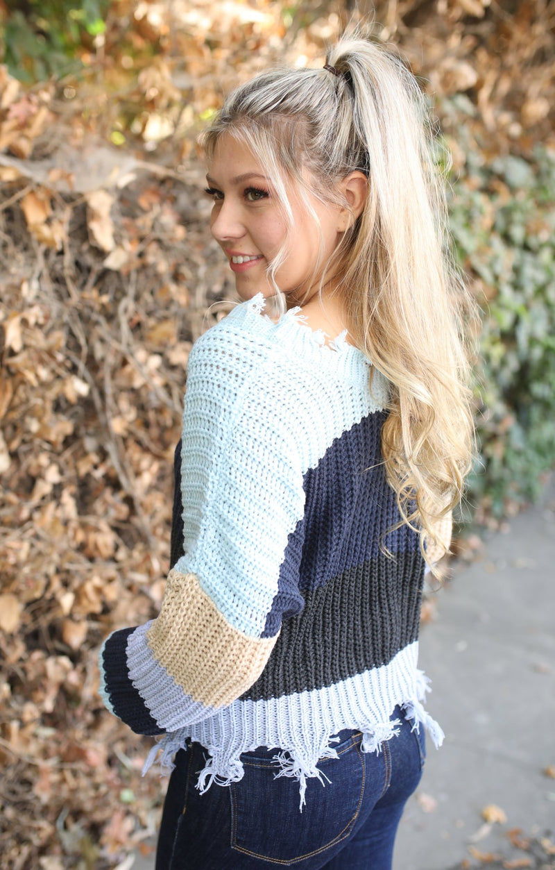 Hang The Tinsel Sweater: Blue - ShopSpoiled
