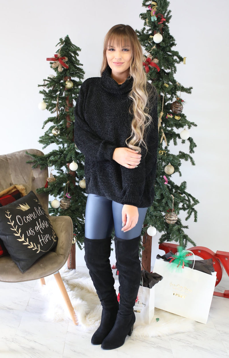 Hello Lovely Sweater: Black - ShopSpoiled