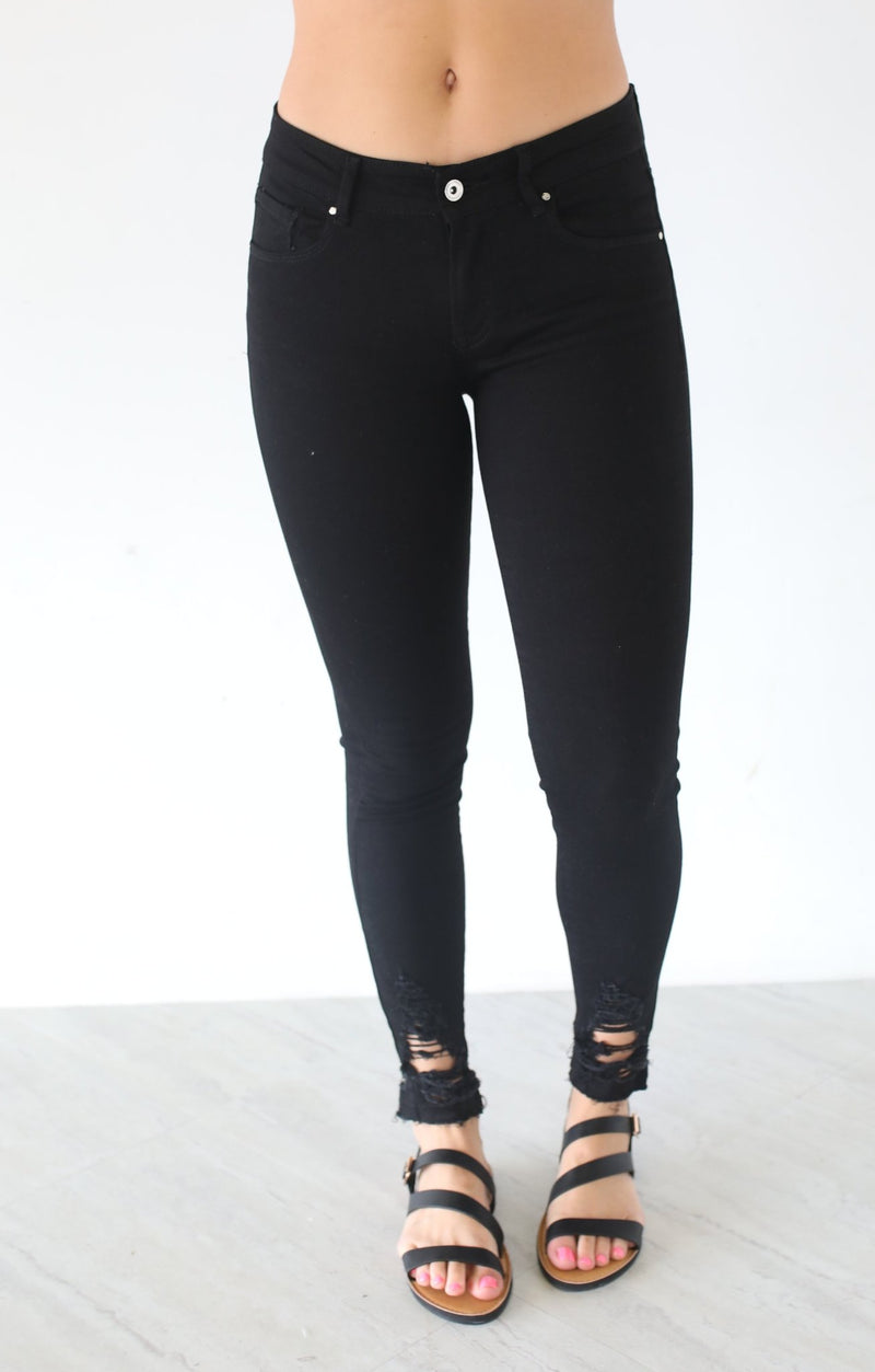 Hem Destroyed Detail Ankle Skinny - ShopSpoiled