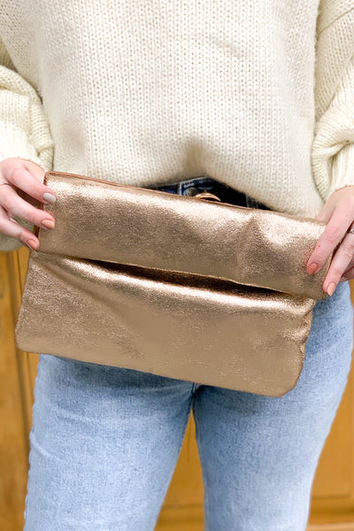Easy To Adore Clutch: Rose Gold - ShopSpoiled