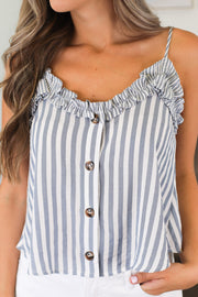 Sweet Stripe Tank: Blue - ShopSpoiled