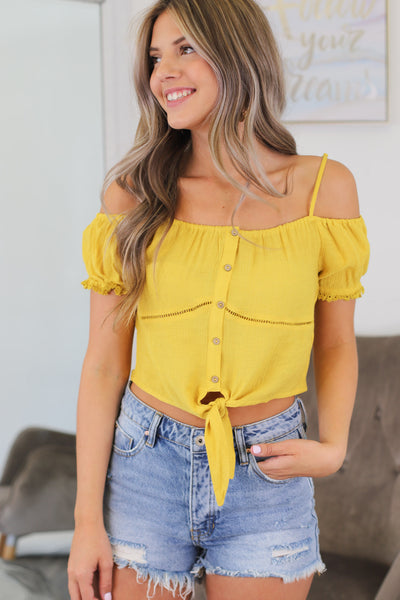 Keep in Mind Top: Yellow - ShopSpoiled