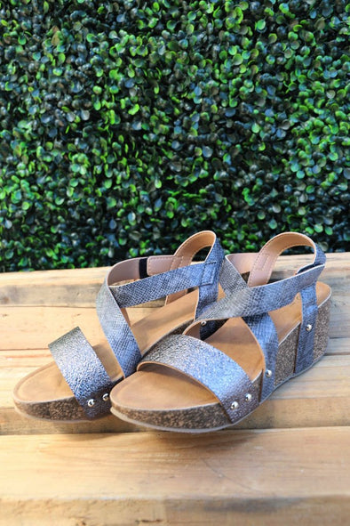 Netta Wedge Sandals: Grey - ShopSpoiled