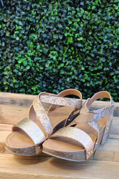 Netta Wedge Sandals: Beige - ShopSpoiled