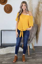 Sparks Fly Top: Mustard - ShopSpoiled