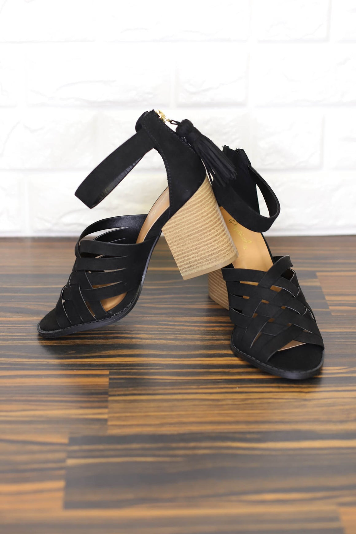 Day Off Strappy Heel: Black - ShopSpoiled