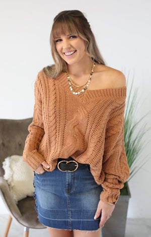 Cozied Up Sweater: Apricot - ShopSpoiled