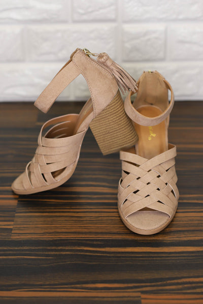 Day Off Strappy Heel: Warm Taupe - ShopSpoiled