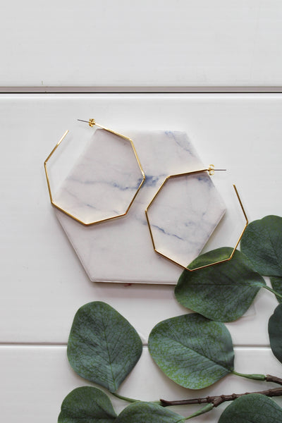 Harlow Hexagon Hoop Earrings: Gold - ShopSpoiled