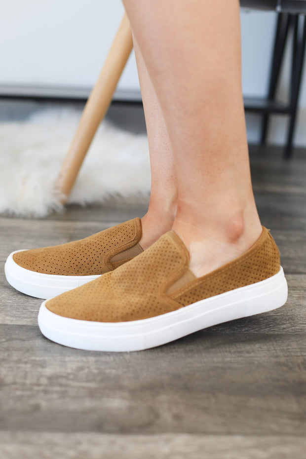 Coco Slip On Sneakers: Tan - ShopSpoiled