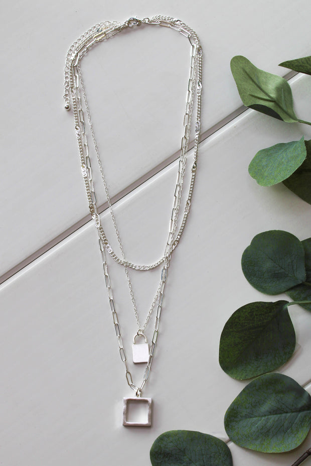 Square Up Necklace: Silver