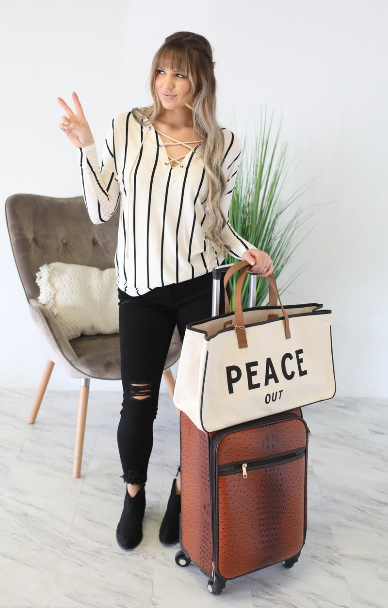 Canvas Tote: Peace Out - ShopSpoiled