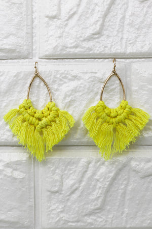 Hello Farrah Fringe Earrings: Yellow - ShopSpoiled