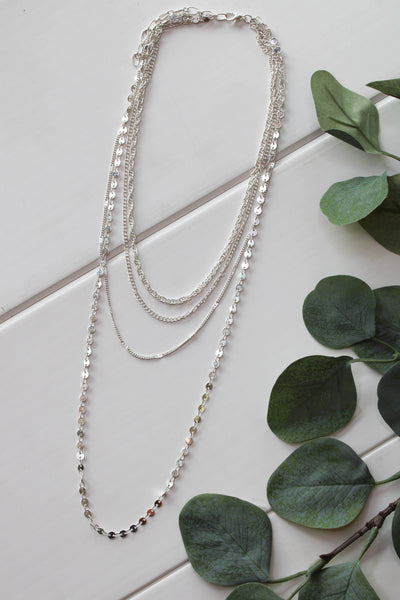 Upscale Layered Necklace: Silver