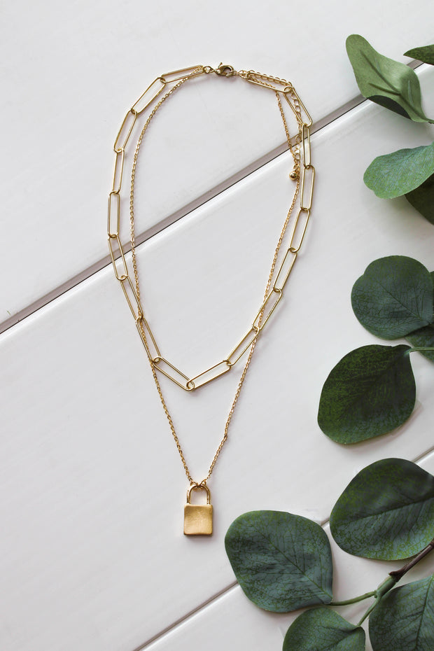 Lock It Down Necklace: Gold