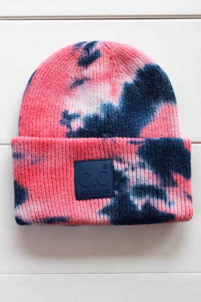 Tie Dye CC Beanie: Pink/ Navy - ShopSpoiled