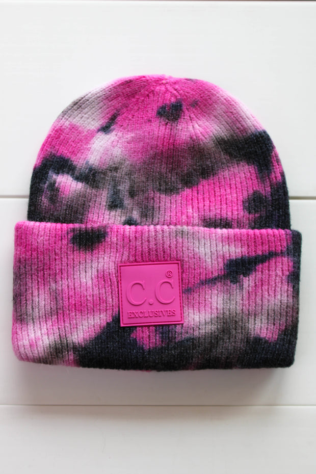 Tie Dye CC Beanie: Black/ Hot Pink - ShopSpoiled