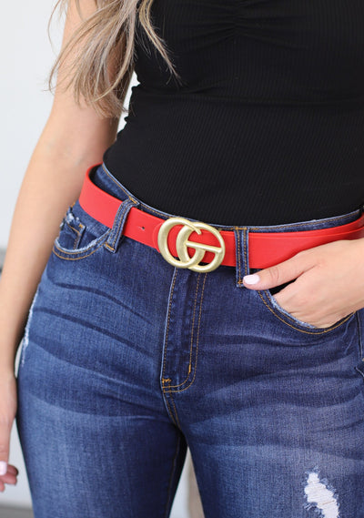 GG Belt: Red with flat gold buckle - ShopSpoiled
