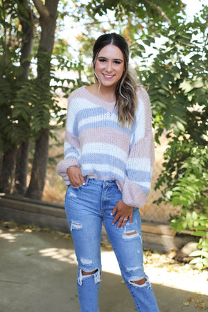 Serena Sweater: Pink/Blue - ShopSpoiled