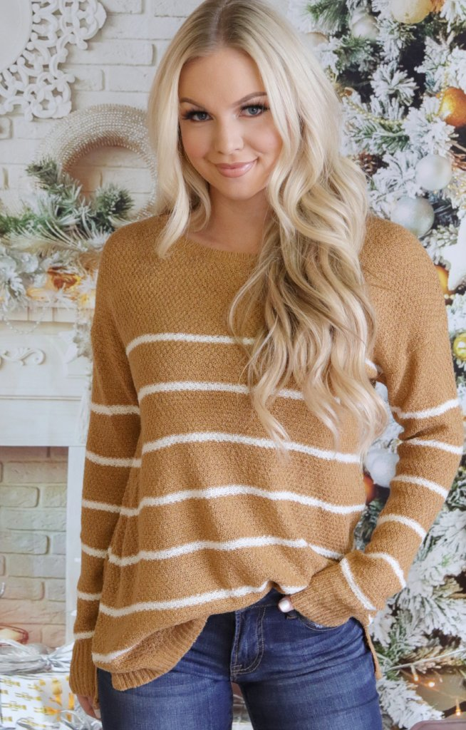 Deanna Sweater: Mustard - ShopSpoiled