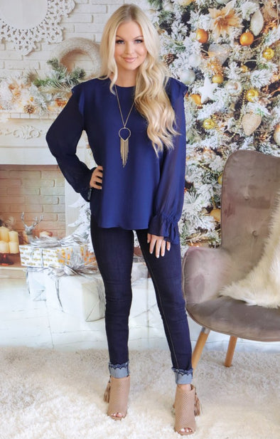 Madelyn Top: Navy - ShopSpoiled