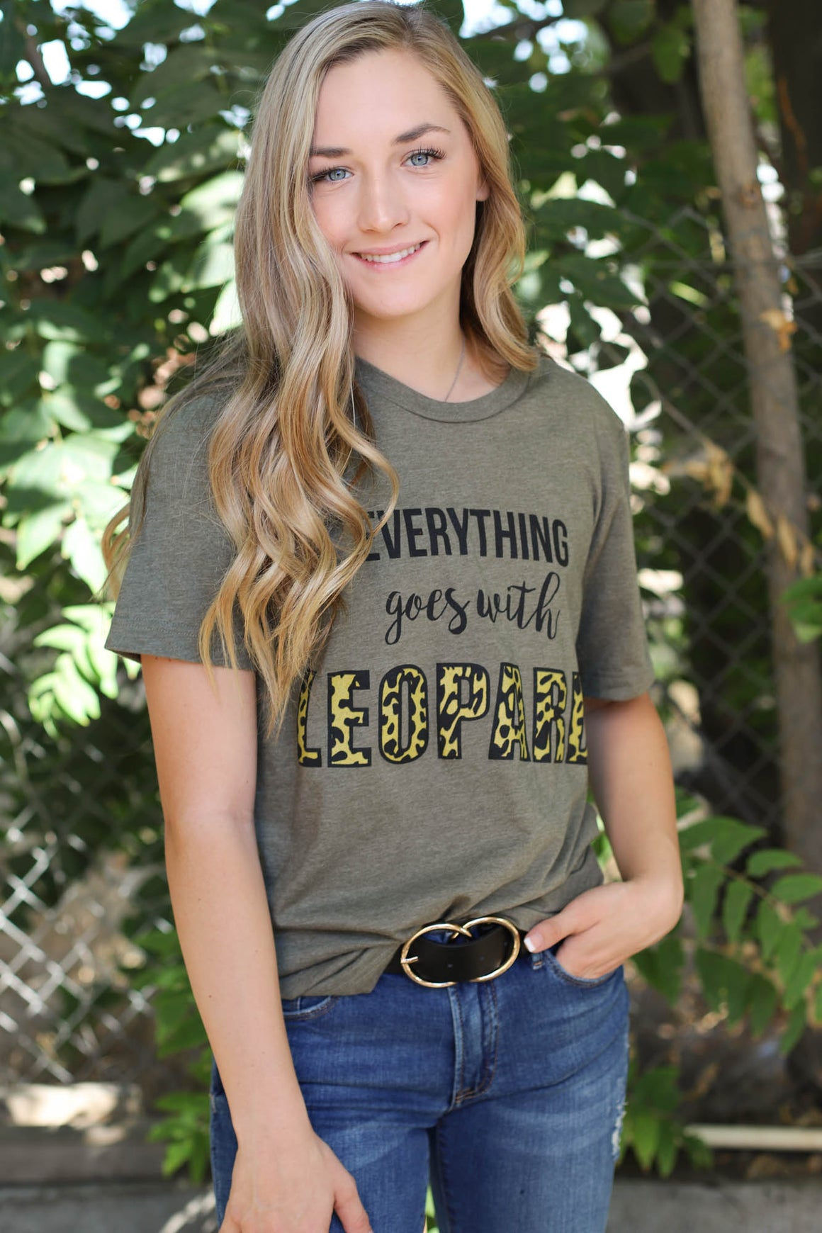 Leopard Everything Tee: Olive - ShopSpoiled