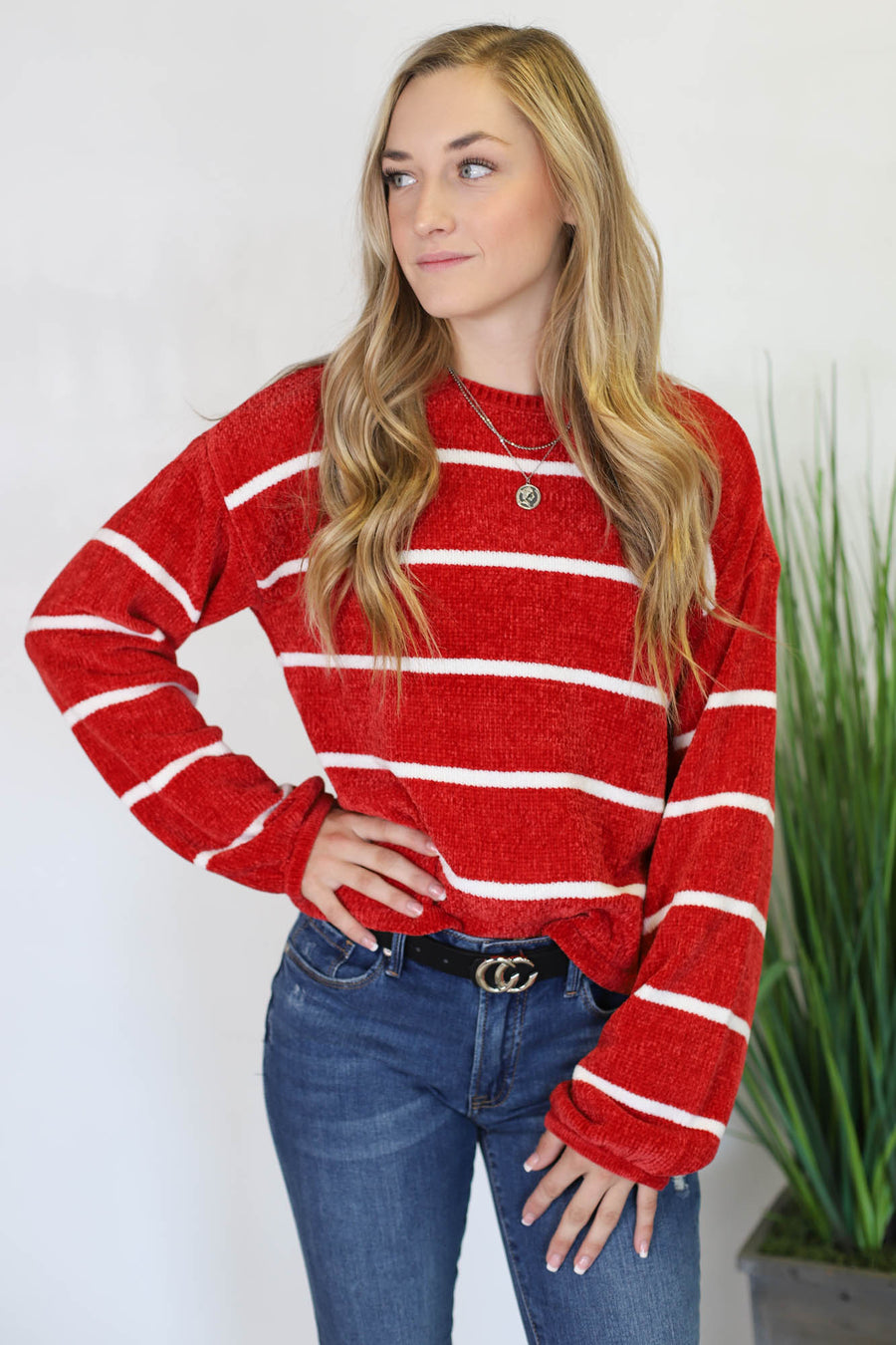 Spotlight Nights Sweater: Red - ShopSpoiled