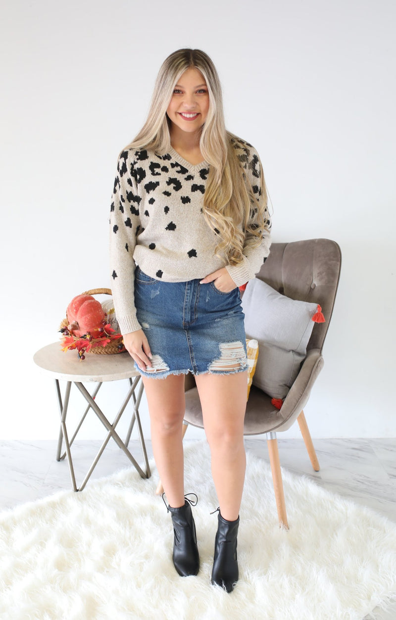 Sweet Spot Sweater: Ivory/Black - ShopSpoiled