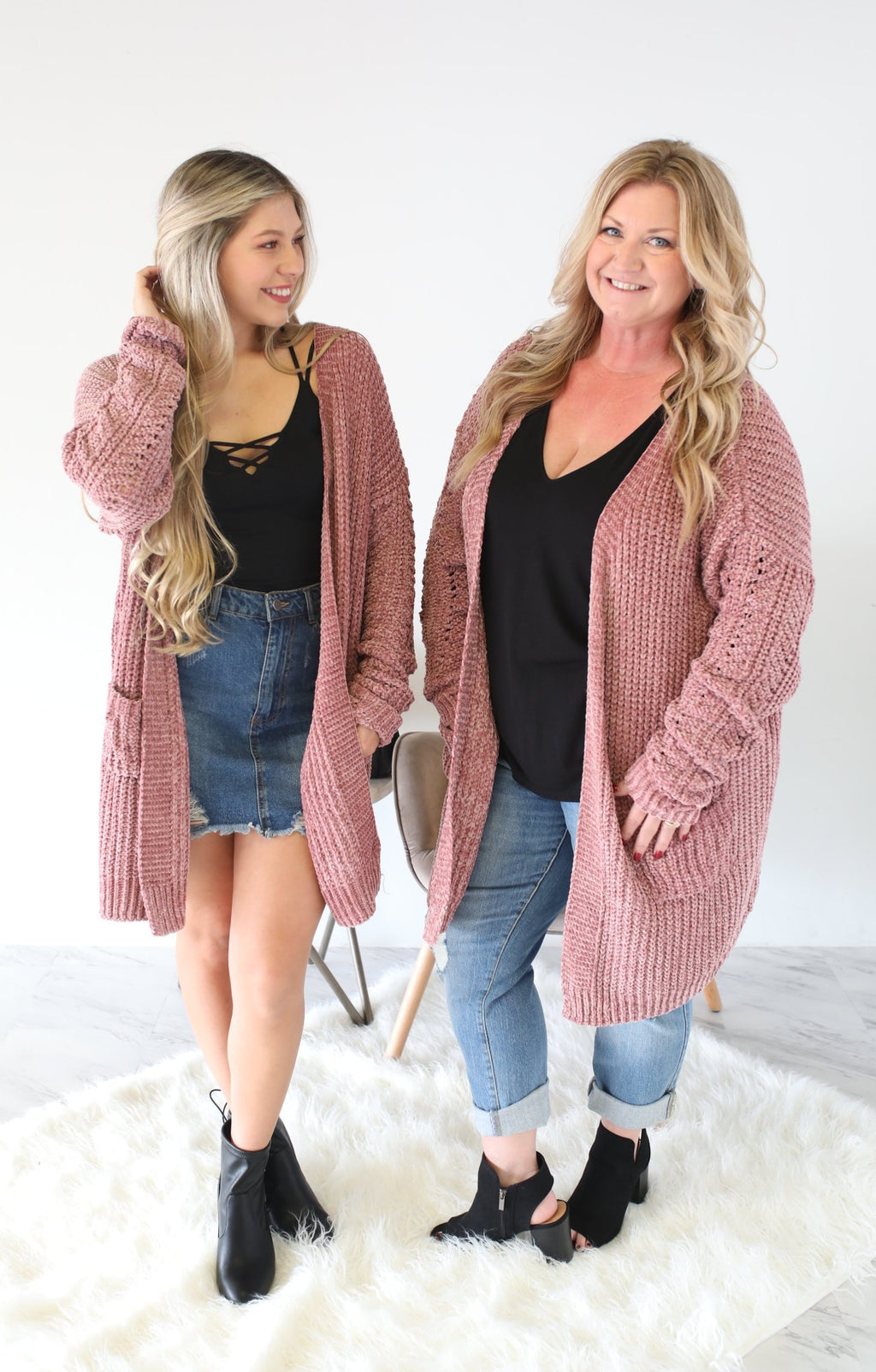 Falling For You Cardigan Xtra: Mauve - ShopSpoiled