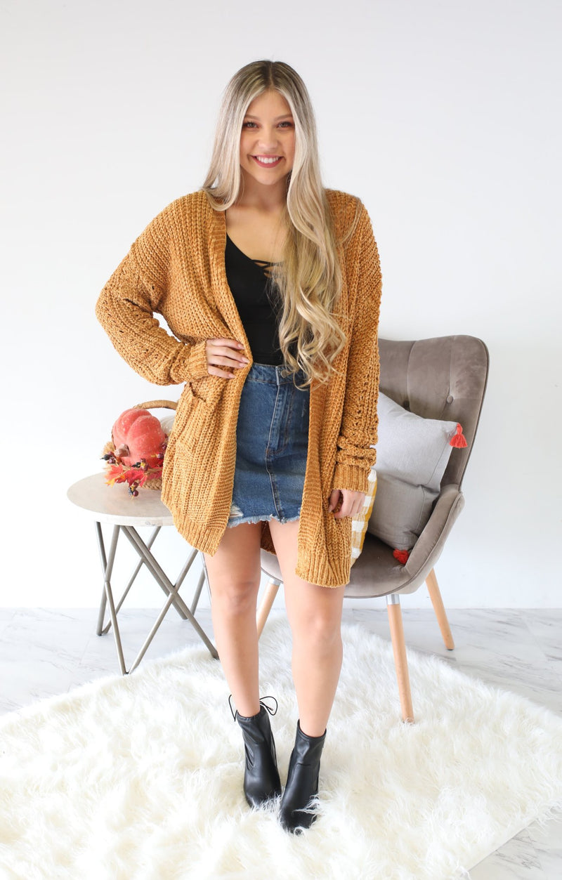 Falling For You Cardigan: Mustard - ShopSpoiled