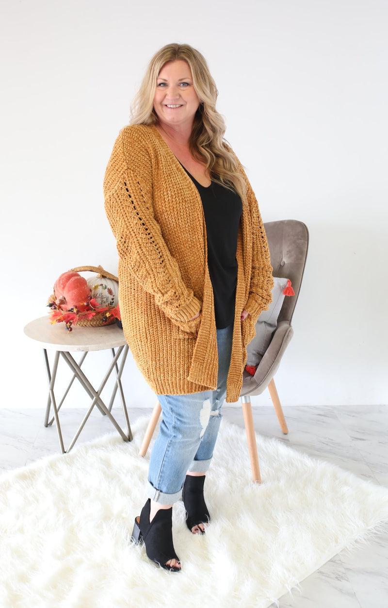 Falling For You Cardigan Xtra: Mustard - ShopSpoiled
