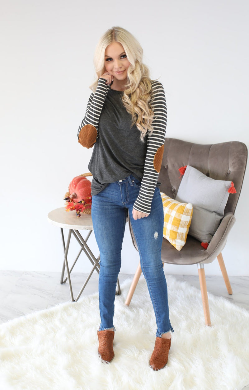 Patch It Up Top: Charcoal - ShopSpoiled