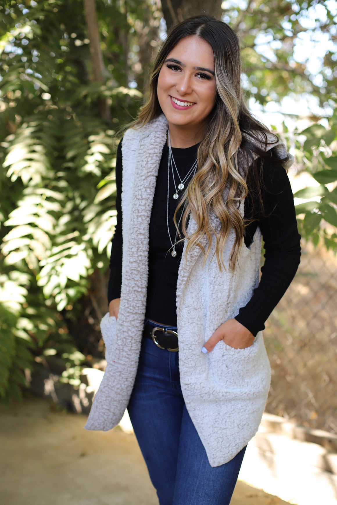 Times Square Sherpa Vest: Taupe - ShopSpoiled