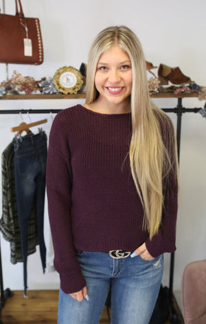 Laced Perfection Sweater: Plum - ShopSpoiled