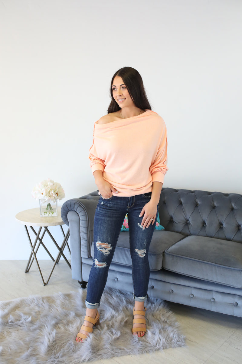 Hang Around Off The Shoulder Top: Peach - ShopSpoiled