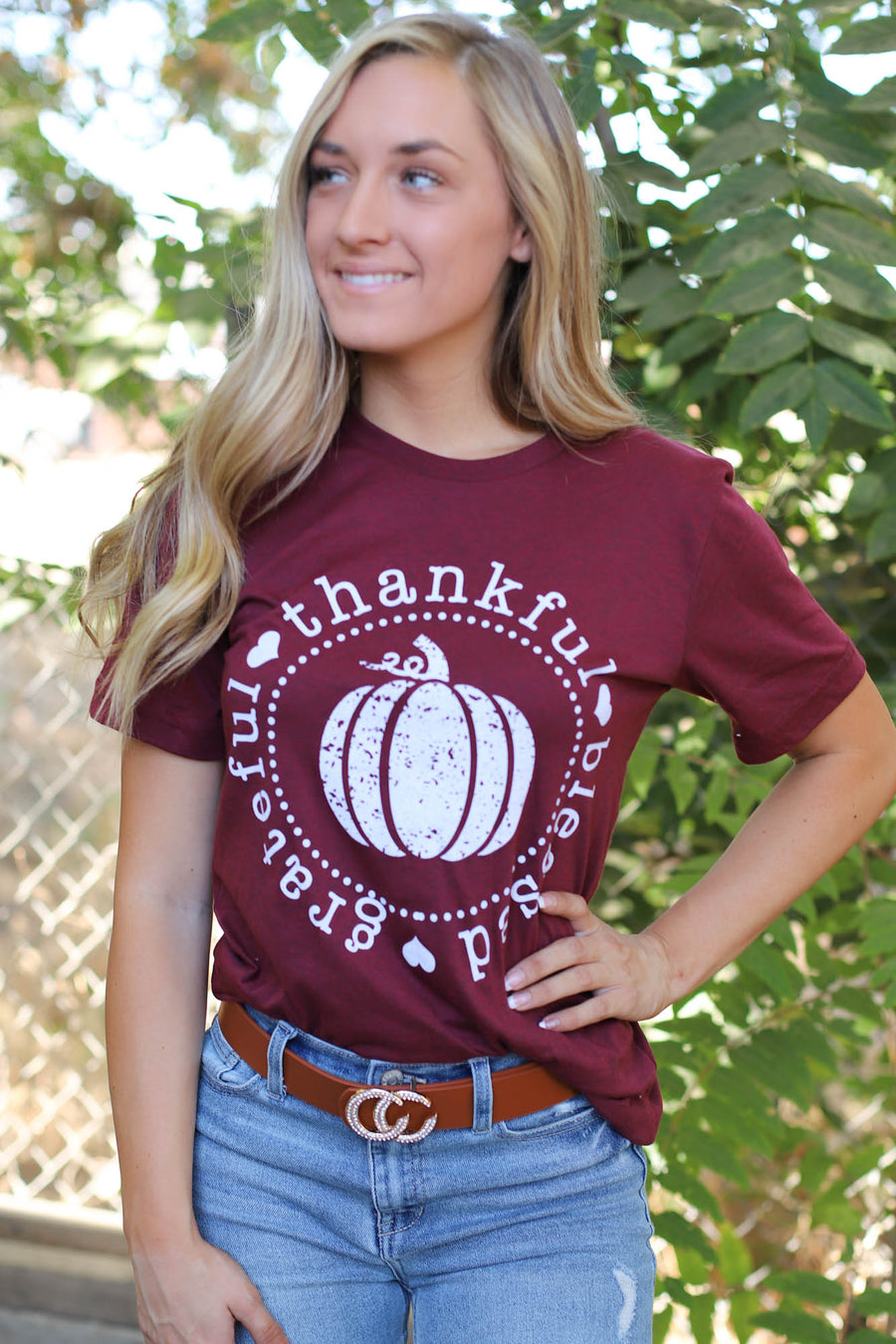 Grateful Thankful Blessed Graphic Tee: Maroon - ShopSpoiled