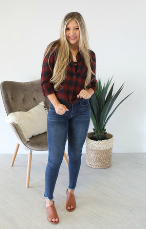 Fall Days Plaid Flannel: Wine/Navy - ShopSpoiled