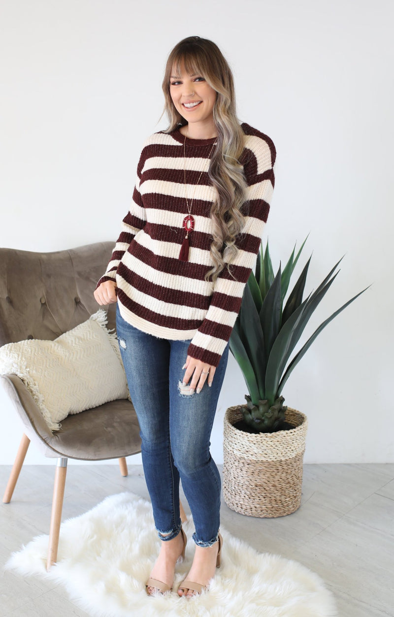 Just Go With It Sweater:  Wine - ShopSpoiled