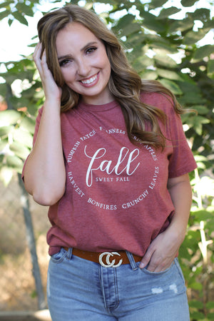 Fall Sweet Fall Graphic Tee: Rust - ShopSpoiled