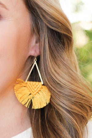 Tell Your Tale Earrings: Mustard - ShopSpoiled