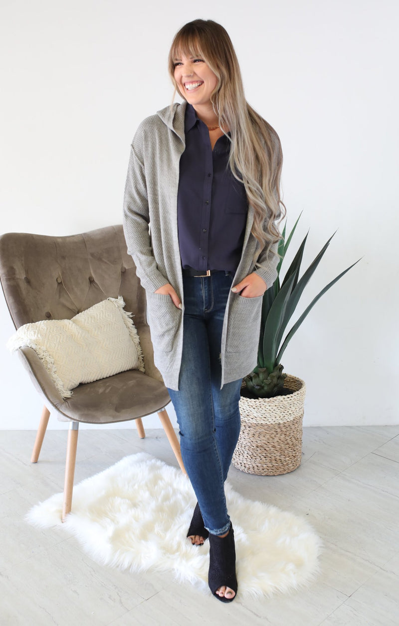 Rosewood Knit Cardigan: Grey - ShopSpoiled