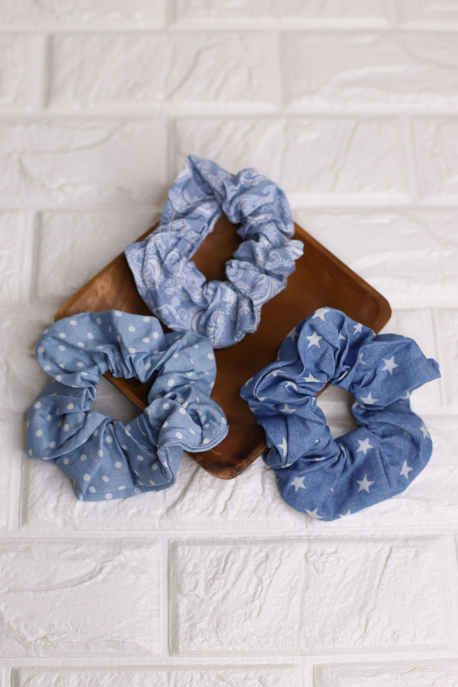 3PC Scrunchie Set: Denim - ShopSpoiled