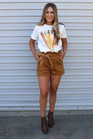 Keep It To Yourself Shorts: Camel - ShopSpoiled