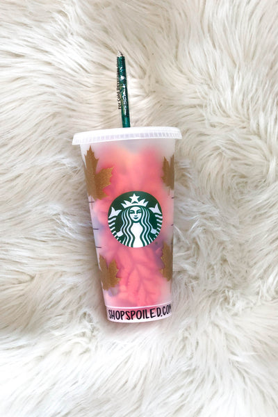 Starbucks Cup: Gold Leaves - ShopSpoiled