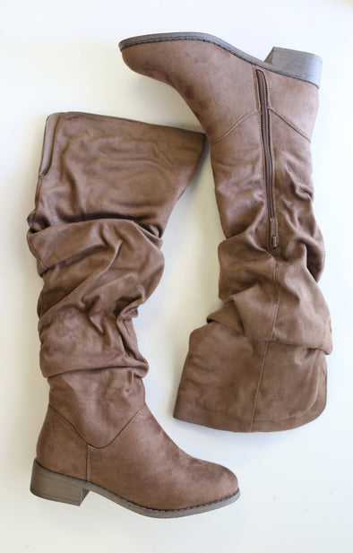 Olympia Boot: Taupe - ShopSpoiled