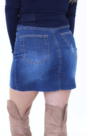 Just Happy To Be Here Denim Skirt: Dark - ShopSpoiled