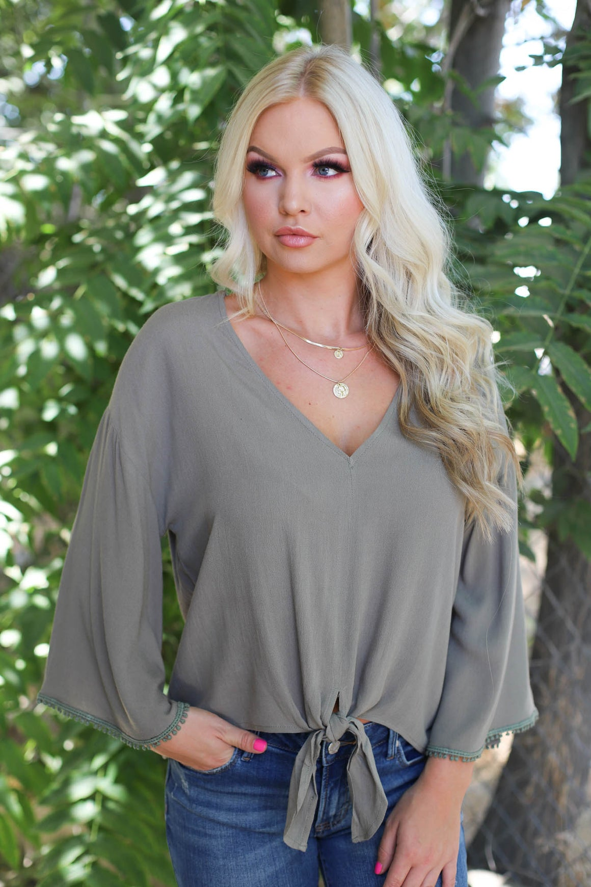 Tranquil Tie Front Top - ShopSpoiled