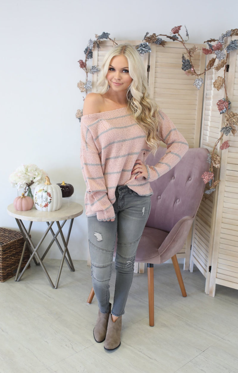 Truth  Be Told Sweater: Blush - ShopSpoiled