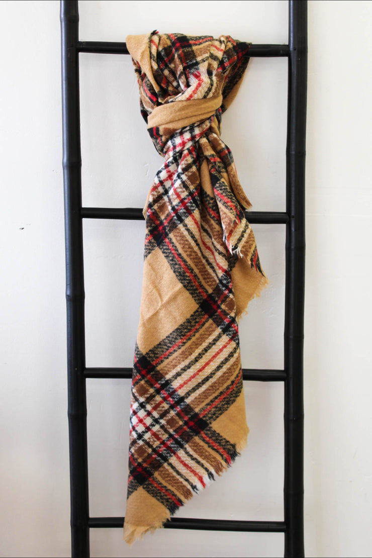 Blanket Scarf: Tan/ Red - ShopSpoiled